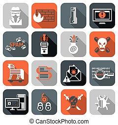 computerkraker, plat, set, iconen