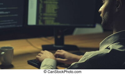 computerkraker, serieuze , aanval, lancering, cyber