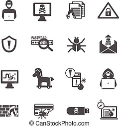 computerkraker, set, iconen