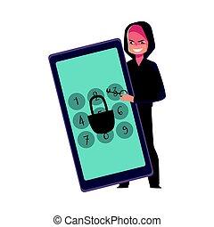 computerkraker, smartphone, telefoon, spelden, slot, scherm, verbreking, knal, code