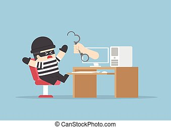 computerkraker, vangen, uit, monitor, hand