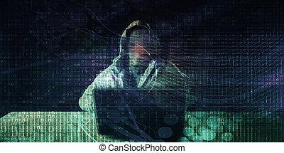 computerkraker, voorkant, computer