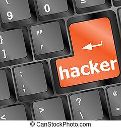 computerkraker, woord, op, toetsenbord, cyber, aanval, cyber...