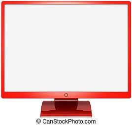 computermonitor, gekleurde, rood