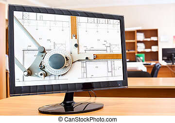 computermonitor, mit, bauplaene, und, zeichenbrett, bild, in, schirm, auf, schreibtisch