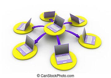 computernetzwerk, freigestellt