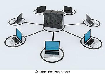 computernetzwerk, mit, server