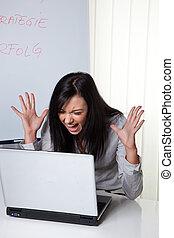 computerprob, femme, jeune, désespéré