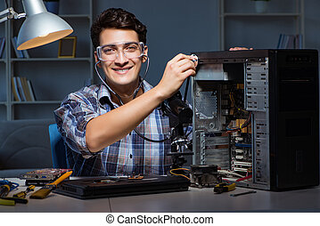 computerreparatur, begriff, mit, mann, prüfen, mit, stethoskop