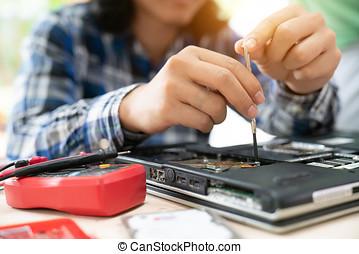 computerreparatur, begriff, nahaufnahme, view.hardware.
