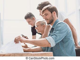 computers., グループ, 人々, 終わり, 。, 仕事