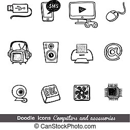Computers and accessories doodles icon set.