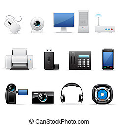 Vector illustration of computers and electronics icons
