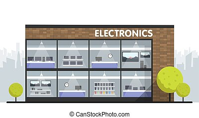 Computers and electronics store building and interior, laptops mobile phones and television screens showcase and city skyline on background