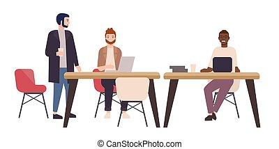computers., büroleute, laptop, workspace., lächeln, style., tische, arbeitende , bereich, freelancers, arbeiter, geteilt, glücklich, wohnung, bunte, sitzen, abbildung, co-working, karikatur, vektor, oder