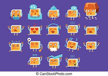 Computers cartoon characters with different situations and emotions, big set vector illustration