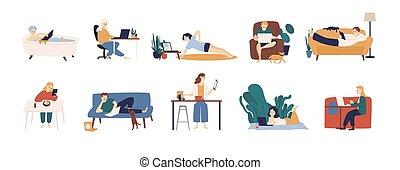 computers., conjunto, gente, computador portatil, en línea,...