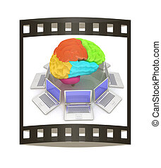 Computers connected to central brain. 3d render. The film strip
