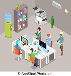 computers., espace bureau, ouvriers, isométrique, illustration, vecteur, ouvert