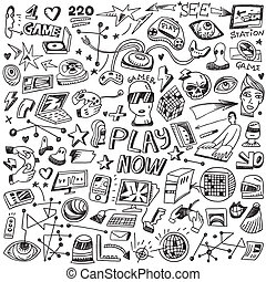 computers games - doodles set