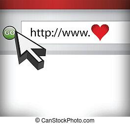 computerscherm, concept, van, liefde