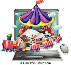 computerscherm, met, kinderen, en, dieren, op, trein