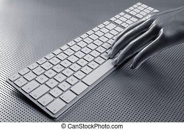 computertastatur, aluminium, silber, hand
