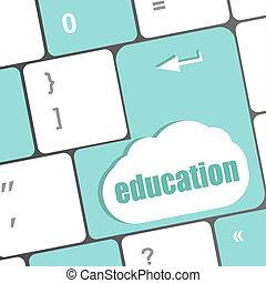computertastatur, mit, schlüssel, bildung, internet, lernen, begriff