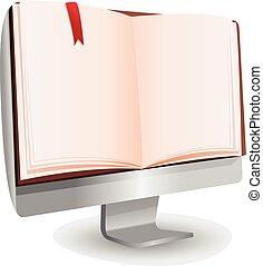computertechnologie, boek, lezende