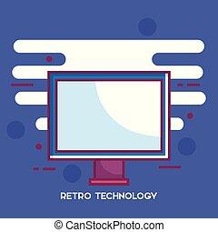 computertechnologie, retro, monitor