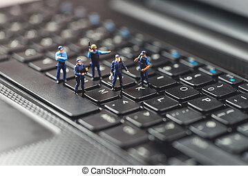 computerverbrechen, concept., makro, foto