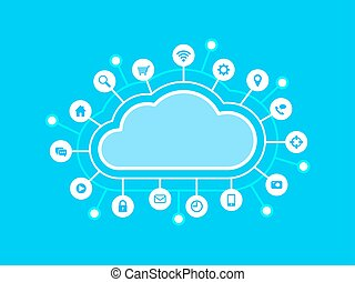 Computing cloud and internet icons