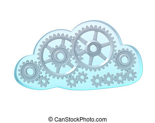 Computing cloud with gears - An isolated sky blue cloud full...