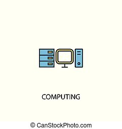 computing concept 2 colored line icon. Simple yellow and blue element illustration. computing concept outline design
