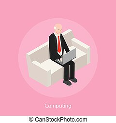 Computing concept design 3d isometric vector illustration