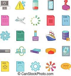 Computing icons set, cartoon style