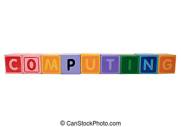 computing in toy block letters