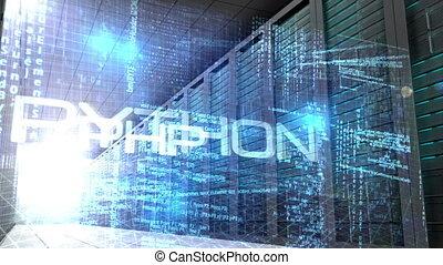 Computing language in server room - Digital animation of...