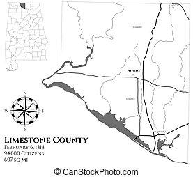 comté, carte, alabama, calcaire