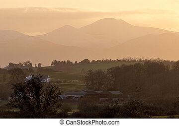 comté, coucher soleil, tipperary