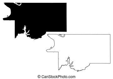 comté, usa, carte, amérique, uni, (u.s., etats, mississippi, us), desoto, illustration, gribouiller, vecteur, croquis, etats-unis