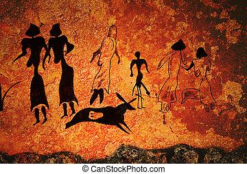 comuna, primitivo, derrúmbese pintura