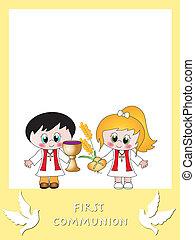 comunhão, cartão, primeiro