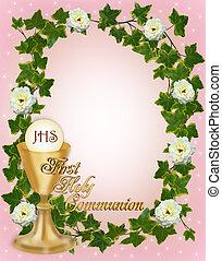 comunhão, primeiro, borda, santissimo, convite