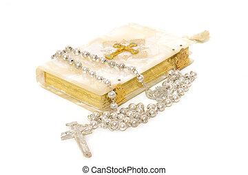 comunión, libro, rosario, primero