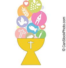 comunión, tarjeta, invitación