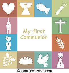 comunión, tarjeta, primero, invitación