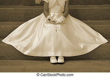 comunión, vestido, primero