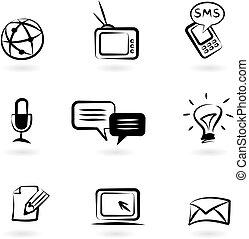 comunicação, ícones, 1