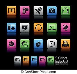 comunicação, ícones, //, cor, caixa